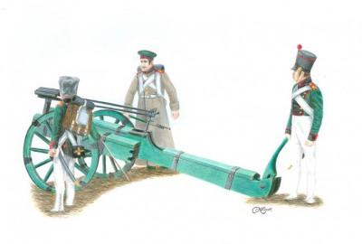 Skonstruowana przez rzemieślników Korpusu wyrzutnia rakiet na lawecie kołowej. Była to wynalazek czysto polski.
