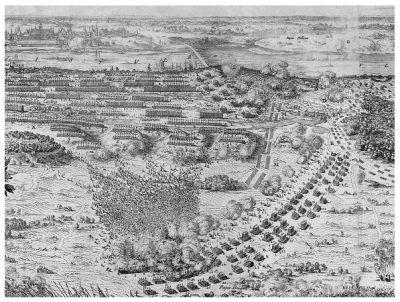 Drugi dzień bitwy pod Warszawą 29 lipca 1656. Szarża husarii kniazia Połubińskiego. Frag. miedziorytu Eryka Dahlberga. Zb. MWP w W-wie.