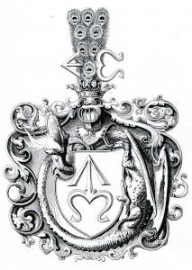 il.5. Fragment dyplomu iluminowanego cesarza Maksymiliana I z 1515 r. nadający  Krzysztiofowi Szydłowieckiemu tytuł barona i przydający do herbu Odrowąż order przewróconego smoka.